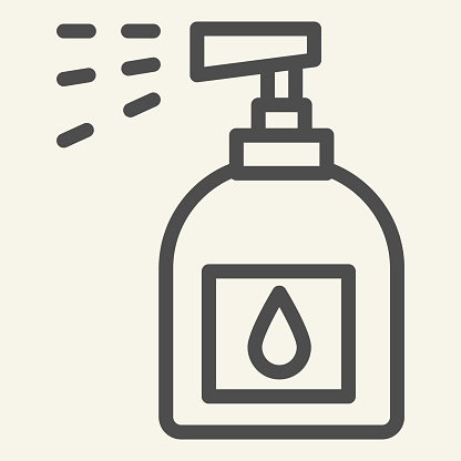 Household chemicals line icon. Spray bottle symbol, outline style pictogram on beige background. Plastic bottle for cleaning sign for mobile concept and web design. Vector graphics.