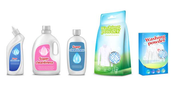 haushaltschemikalien vektor-illustration der toilette oder im bad reiniger, wasch-flüssigkeit oder waschmittel 3d realistisch flasche und kasten - weichspüler stock-grafiken, -clipart, -cartoons und -symbole
