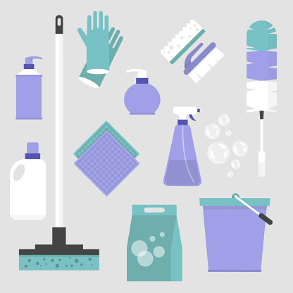 Household chores. Set of cleaning tools: a mop, a bucket, a feather duster, a bottle of cleaning spray, a pair of gloves, a brush and a sponge. Flat editable vector illustration, clip art