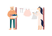 Household chores vector illustration