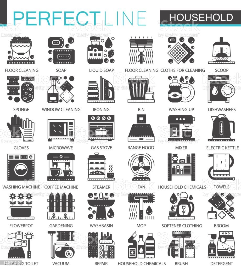 Household Classic Black Mini Concept Symbols Home Appliances Modern