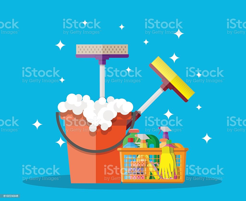 household cleaning products and accessories vector art illustration