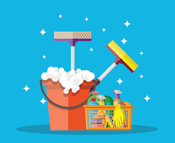 illustrazioni stock, clip art, cartoni animati e icone di tendenza di household cleaning products and accessories - kitchen situations