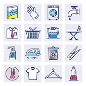 Household cleaning products  outline style concept with symbols. Flat line vector icons set for infographics, mobile and web designs.