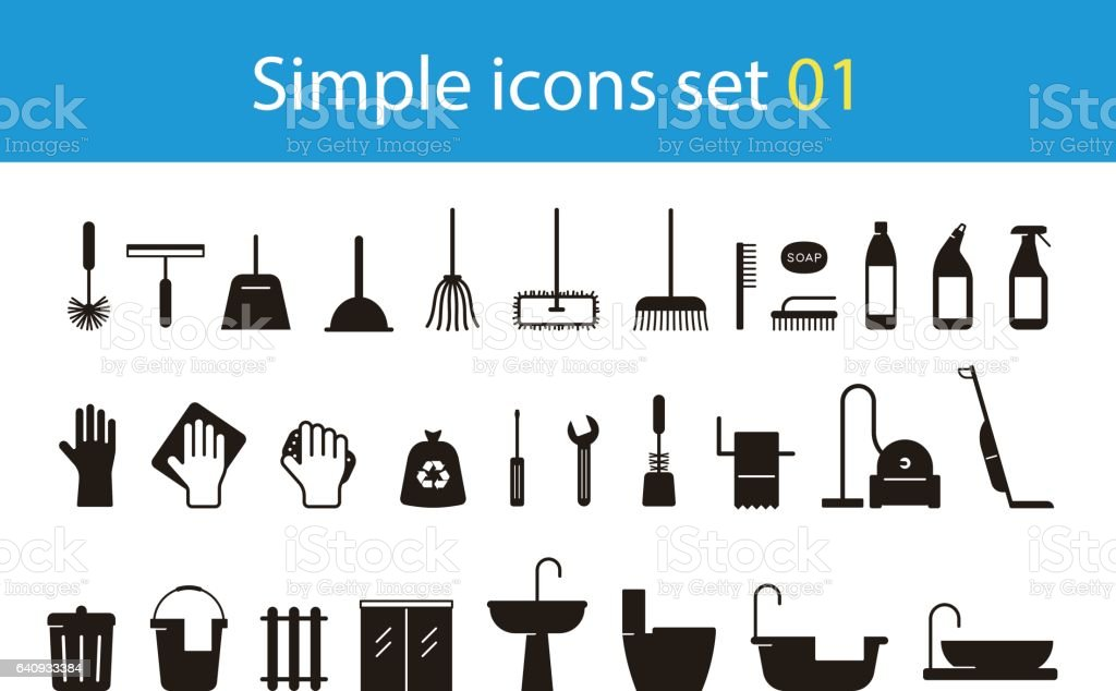 household cleaning supplies icon set, vector illustration vector art illustration