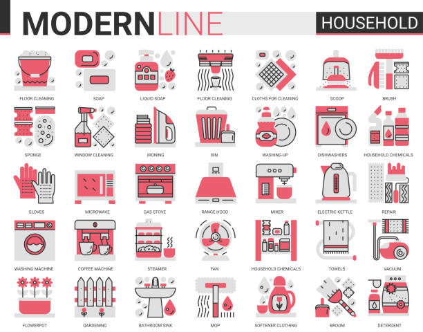 Household complex red black flat line Household tools complex flat line red black icons vector illustration set, house cleaning, cooking or gardening symbols, housework collection of domestic cleaner equipment, home appliances dishwashing machine stock illustrations