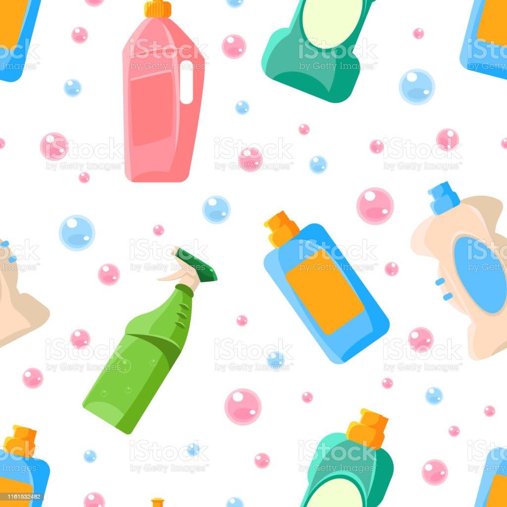 家庭用洗剤シームレスパターン家庭用洗浄用品デザイン要素はファブリック壁紙包装ベクトルイラストに使用することができます お手洗いのベクターアート素材や画像を多数ご用意 Istock