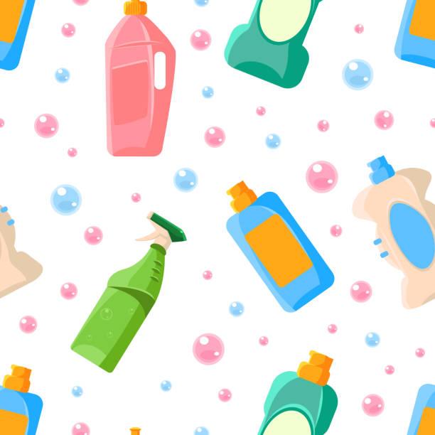haushaltswaschmittel nahtlose muster, haushaltsreinigung liefert, design-element kann für stoff verwendet werden, tapete, verpackung vektor illustration - weichspüler stock-grafiken, -clipart, -cartoons und -symbole