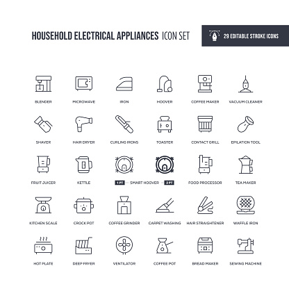 Household Electrical Appliances Editable Stroke Line Icons