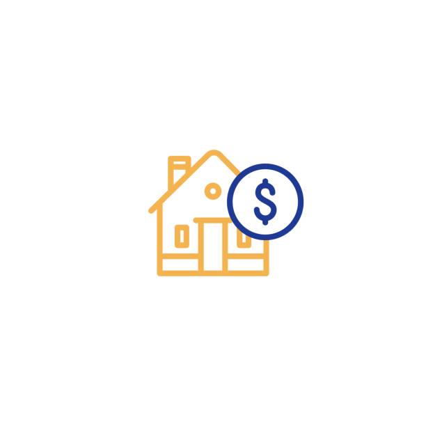 illustrazioni stock, clip art, cartoni animati e icone di tendenza di household expenses, mortgage payment, house line icon, invest money, real estate property - real life