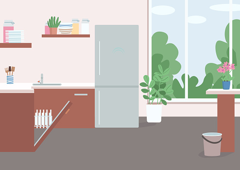 Household flat color vector illustration. Kitchen with fridge and opened dish washer. Chores in furnished dining room. Residential house 2D cartoon interior with wall window on background