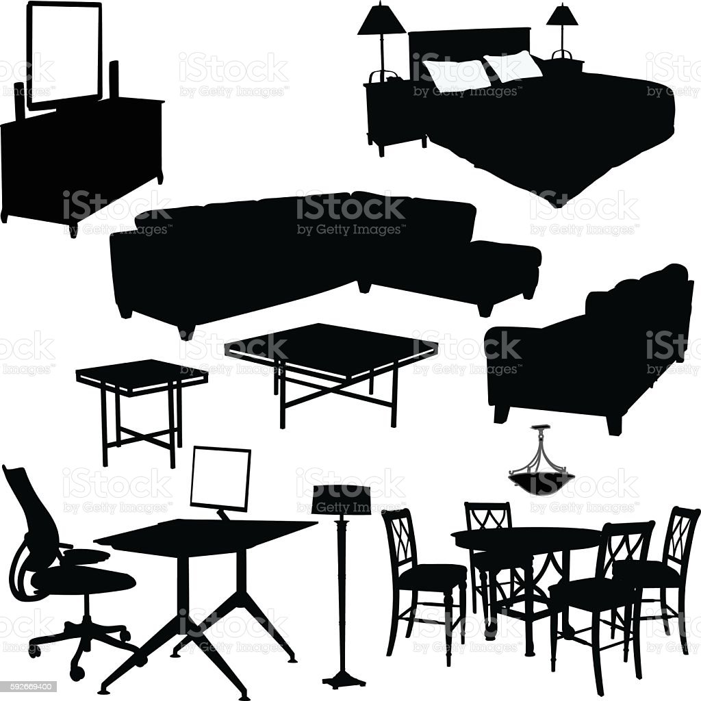 Household Furniture Collection vector art illustration