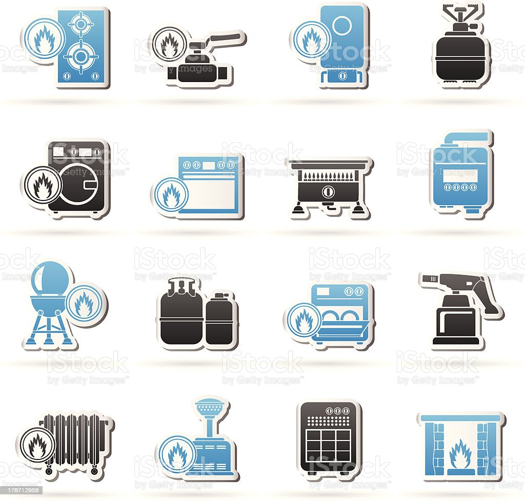 Household Gas Appliances icons vector art illustration