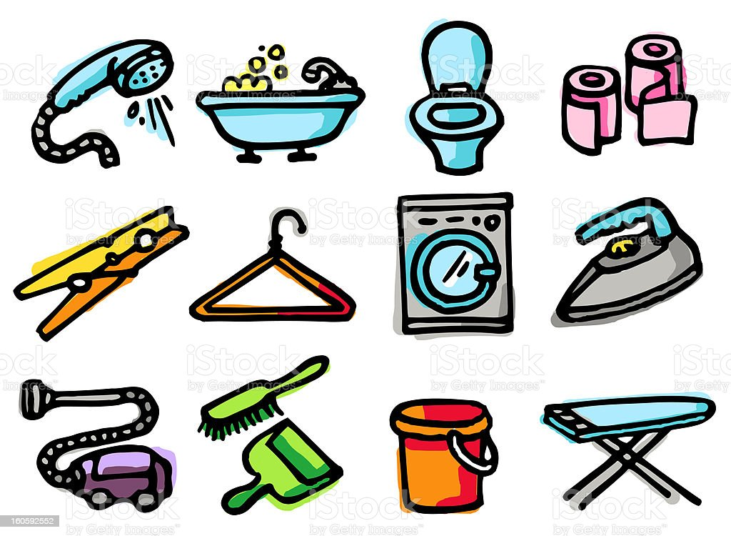 household icons royalty-free household icons stock vector art & more images of bathroom