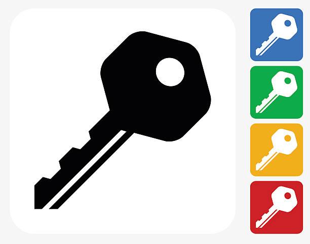 household key icon flat graphic design - keys stock illustrations, clip art, cartoons, & icons