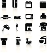 Household kitchen appliance icons