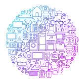 Household Line Circle Design