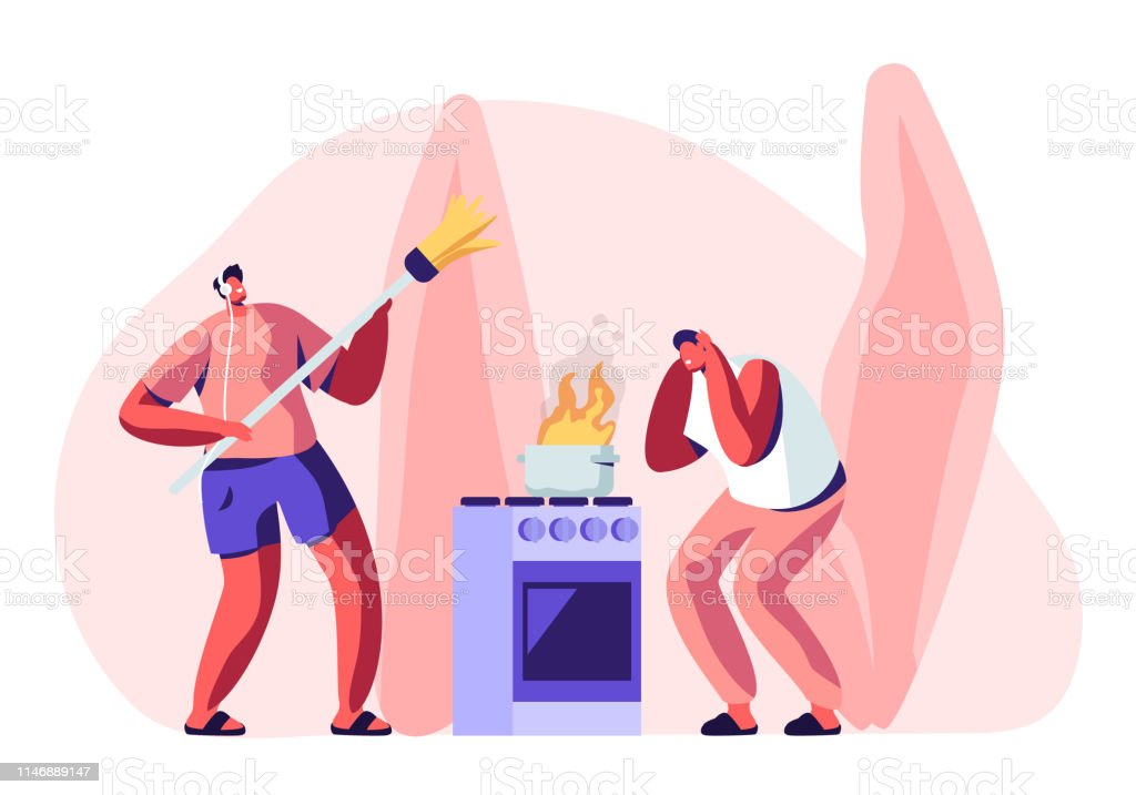 Household Male Character Housekeeping. Frightened Man Stand at Oven with Burning Fire in Pan, Guy in Headset Listening Music and Dancing with Broom while Cleaning Home Cartoon Flat Vector Illustration - Royalty-free Adulto arte vetorial