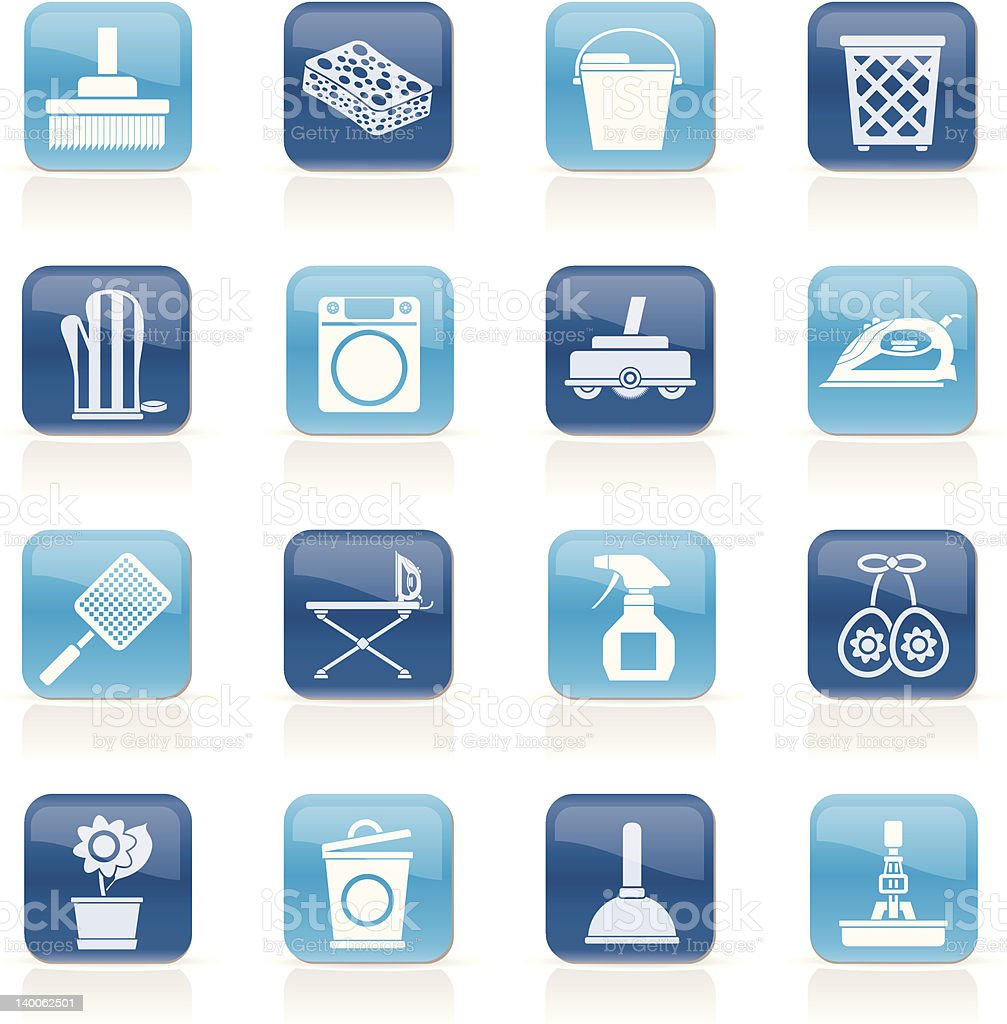 Household objects and tools icons royalty-free stock vector art