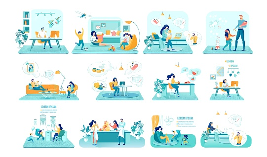 Household Occupations Vector Illustrations Set