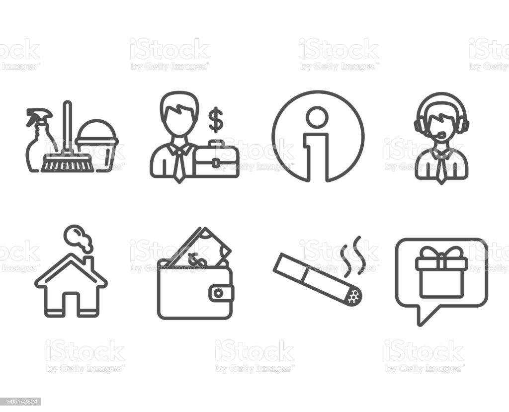 Household service, Businessman case and Smoking icons. Wallet, Shipping support and Wish list signs. royalty-free household service businessman case and smoking icons wallet shipping support and wish list signs stock vector art & more images of adult