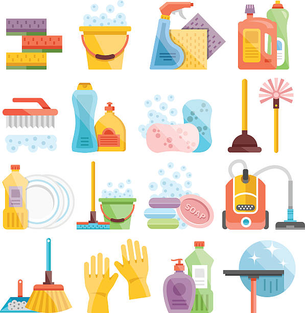 household supplies and cleaning flat icons set - disinfectant stock illustrations