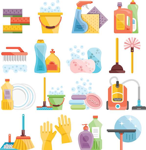 stockillustraties, clipart, cartoons en iconen met household supplies and cleaning flat icons set - emmer