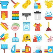 Household supplies icons set. Cleaning flat icons, vector icons set