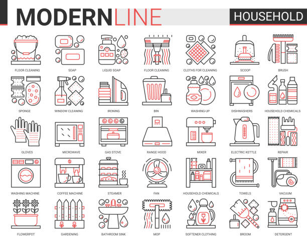 Household tools complex thin red black line icons vector illustration set, outline house cleaning, cooking or gardening linear symbols, housework collection Household tools complex thin red black line icons vector illustration set, outline house cleaning, cooking or gardening linear symbols, housework collection domestic cleaner equipment, home appliances dishwashing machine stock illustrations