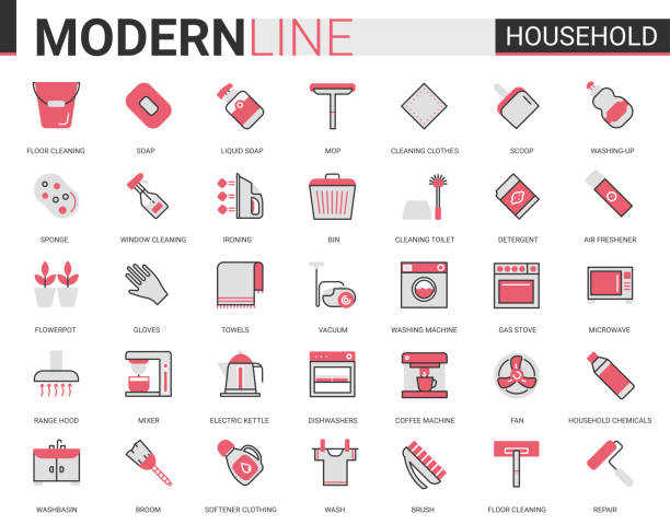 Household tools flat thin red black line icons vector illustration set, outline house cleaning, cooking or gardening linear symbols, housework collection Household tools flat thin red black line icons vector illustration set, outline house cleaning, cooking or gardening linear symbols, housework collection of domestic cleaner equipment, home appliances dishwashing machine stock illustrations