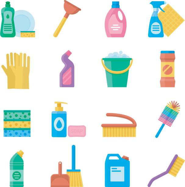 household tools for cleaning and washing icon set - disinfectant stock illustrations