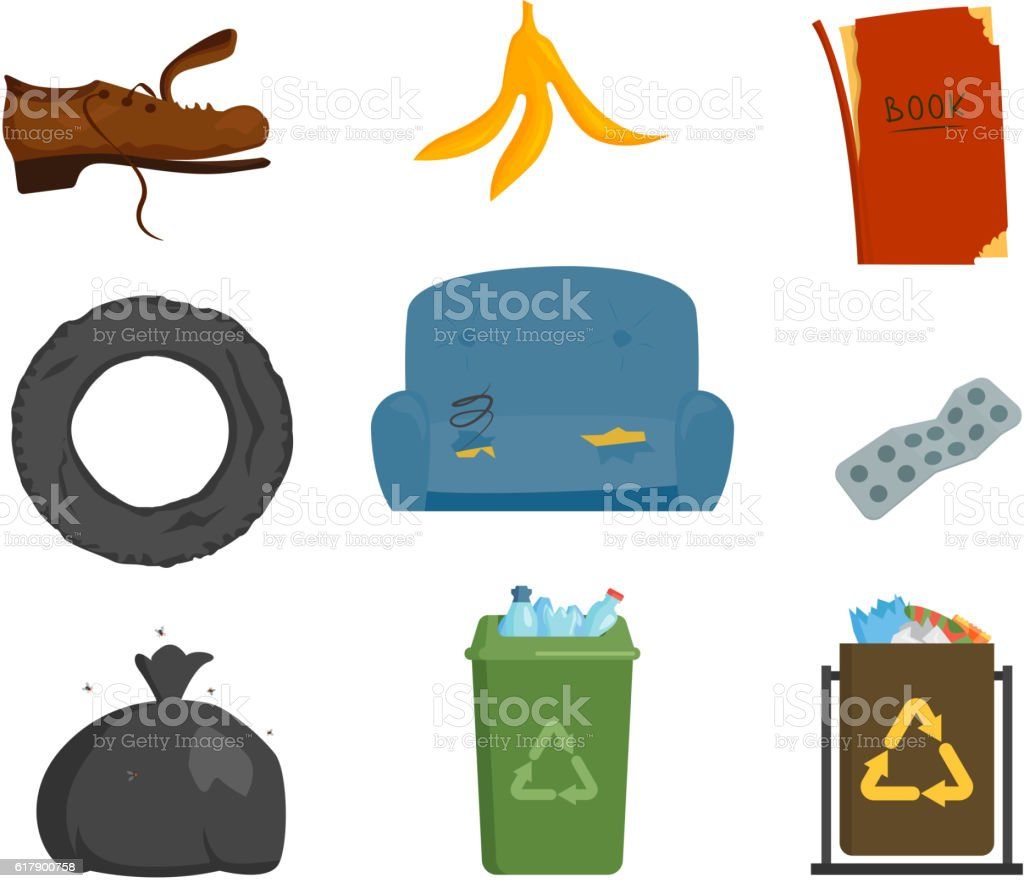 Household waste garbage icons vector art illustration