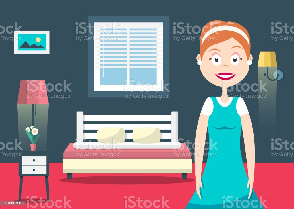 Household Woman in Hotel Room Vector Flat Design Illustration....
