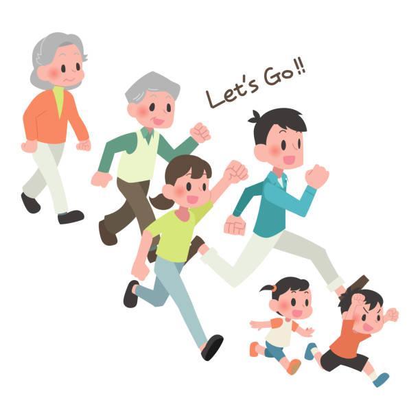 3世帯の人々が走る ベクターアートイラスト