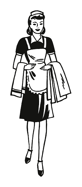 Housekeeper Carrying Towels