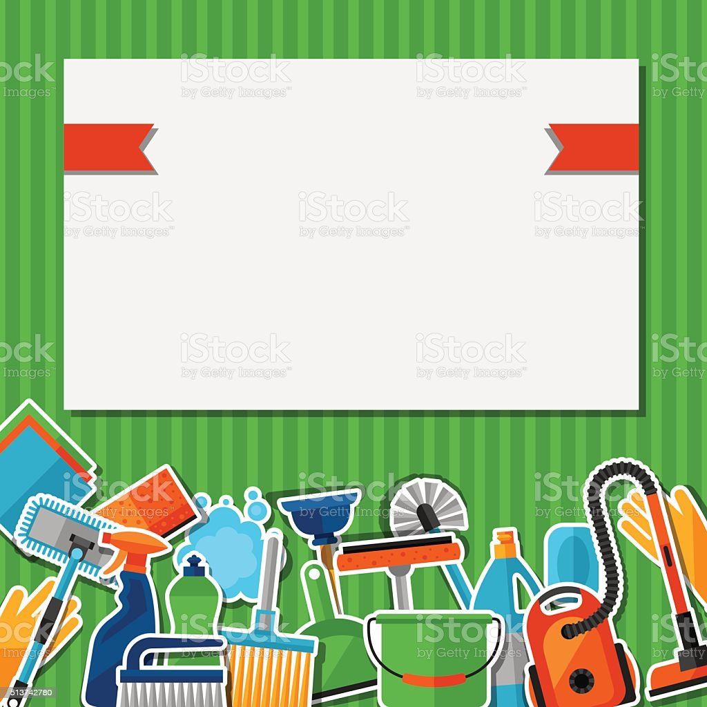 Housekeeping background with cleaning sticker icons. Image can be used vector art illustration
