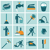 Housekeeping icon set. Flat vector illustration
