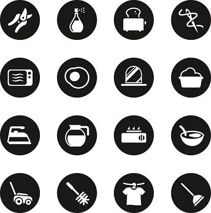 Housekeeping Icons - Black Circle Series