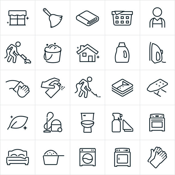 Housekeeping Icons A set of housekeeping icons. The icons include a clean window, duster, laundry, housekeeper, person vacuuming, bucket of soapy water, clean house, laundry detergent, iron, person cleaning, clean cloths, ironing board, vacuum, oven, bed, washing machine, drying machine and cleaning gloves. laundry basket stock illustrations
