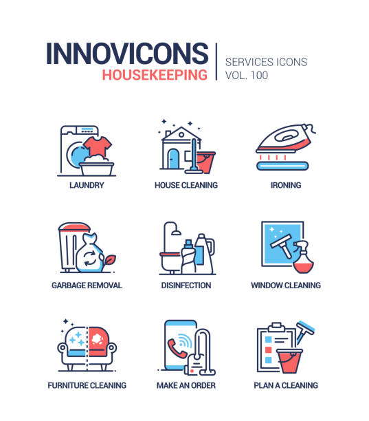 Housekeeping services - vector line design style icons set vector art illustration