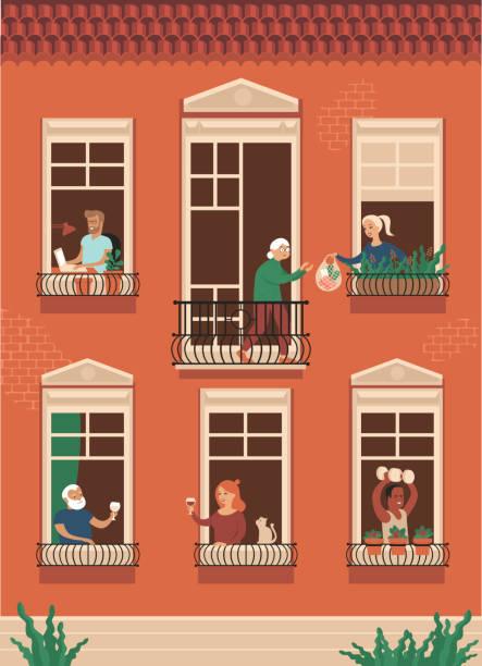 stockillustraties, clipart, cartoons en iconen met huisgenoten werken, wijn drinken, sportoefeningen doen ondersteunt ouderen tijdens het zelfisolement. - buren