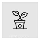 Houseplant Rounded Line Icon