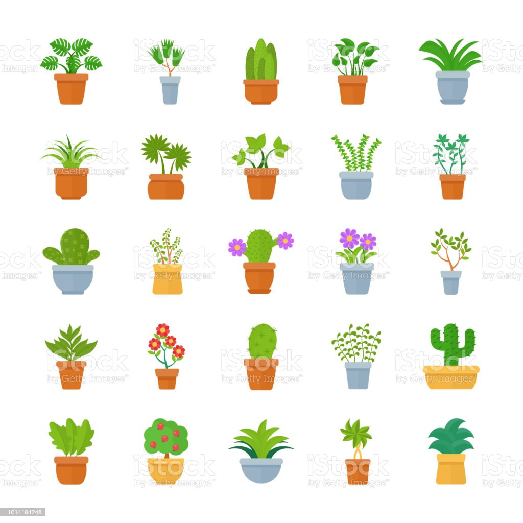 Houseplants Flat Vector Icons vector art illustration