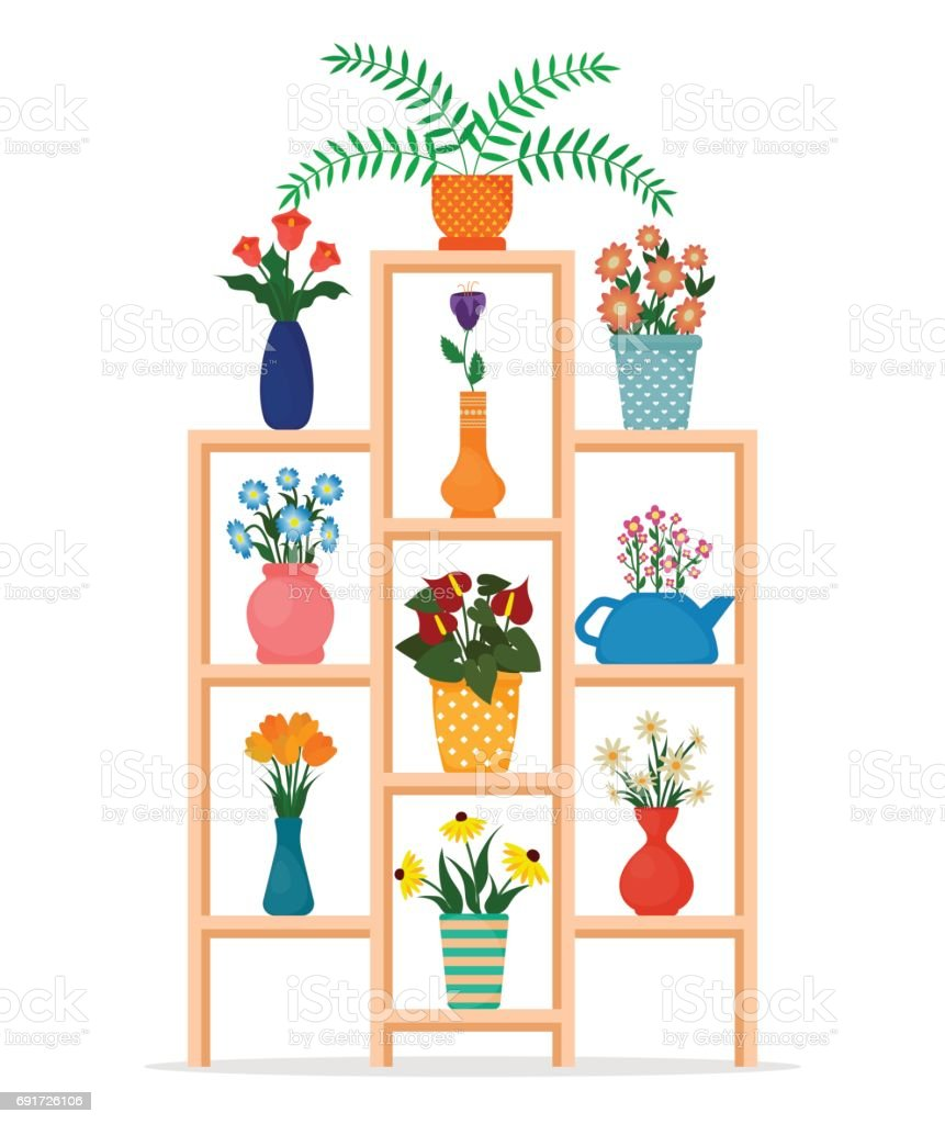 Houseplants Or Indoor Plants And Potted Flowers On Shelves Of The ...
