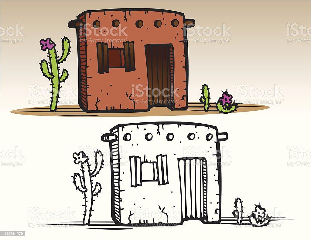 Houses - Adobe Hut vector art illustration