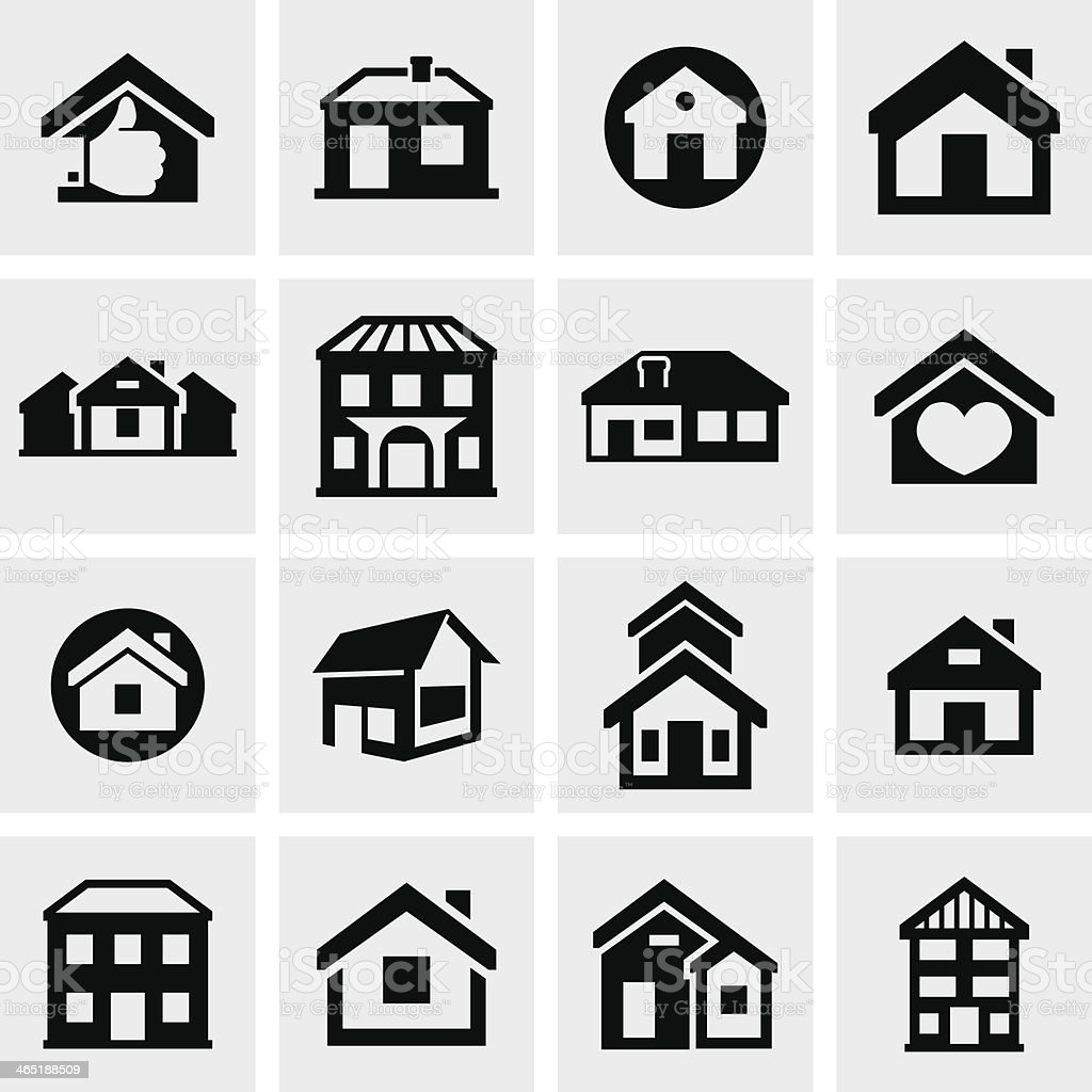 Houses and buildings icons set. Real estate. vector art illustration