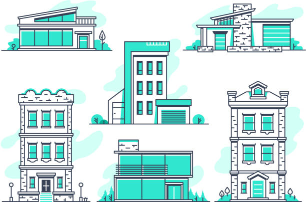 Houses and buildings property and accommodation line icons. Modern architecture outline symbos isolated Houses and buildings property and accommodation line icons. Modern architecture outline symbos isolated. Home architecture, garage and housing, vector illustration modern house stock illustrations