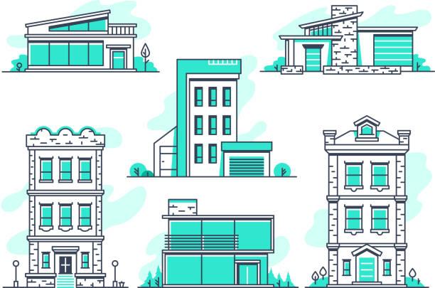 ilustraciones, imágenes clip art, dibujos animados e iconos de stock de propiedad de casas y edificios y alojamientos línea de iconos. esquema de la arquitectura moderna symbos aislado - nueva casa