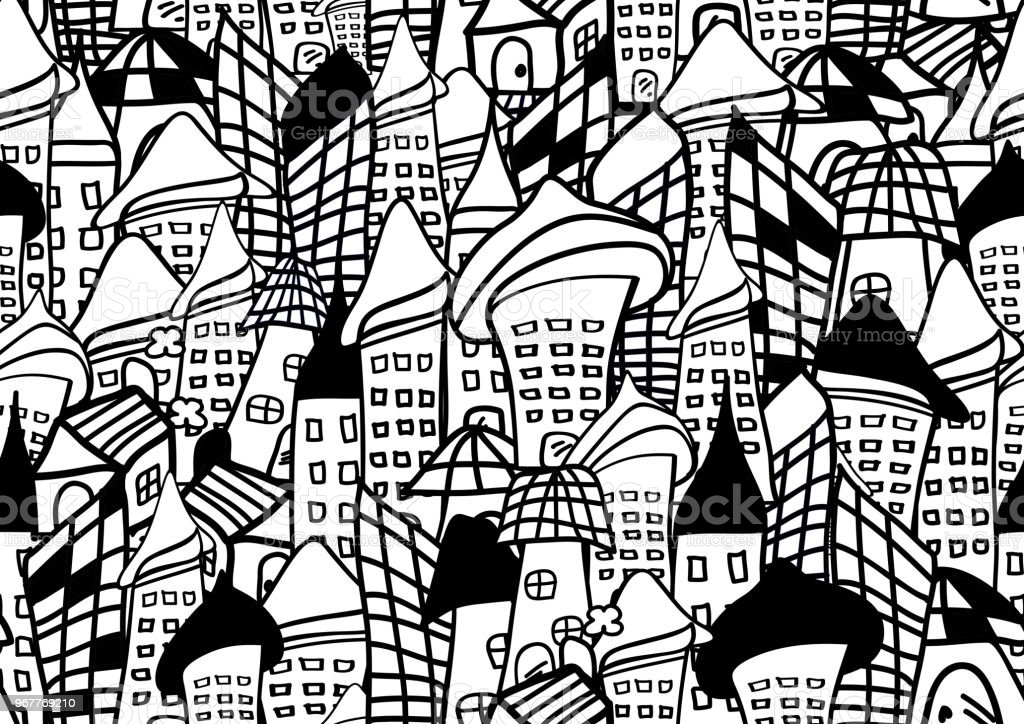 32457aae96 Houses and buildings seamless pattern vector illustration for for fabric,  cloth, package, wall, decoration, furniture, printing media. Black and  white color ...