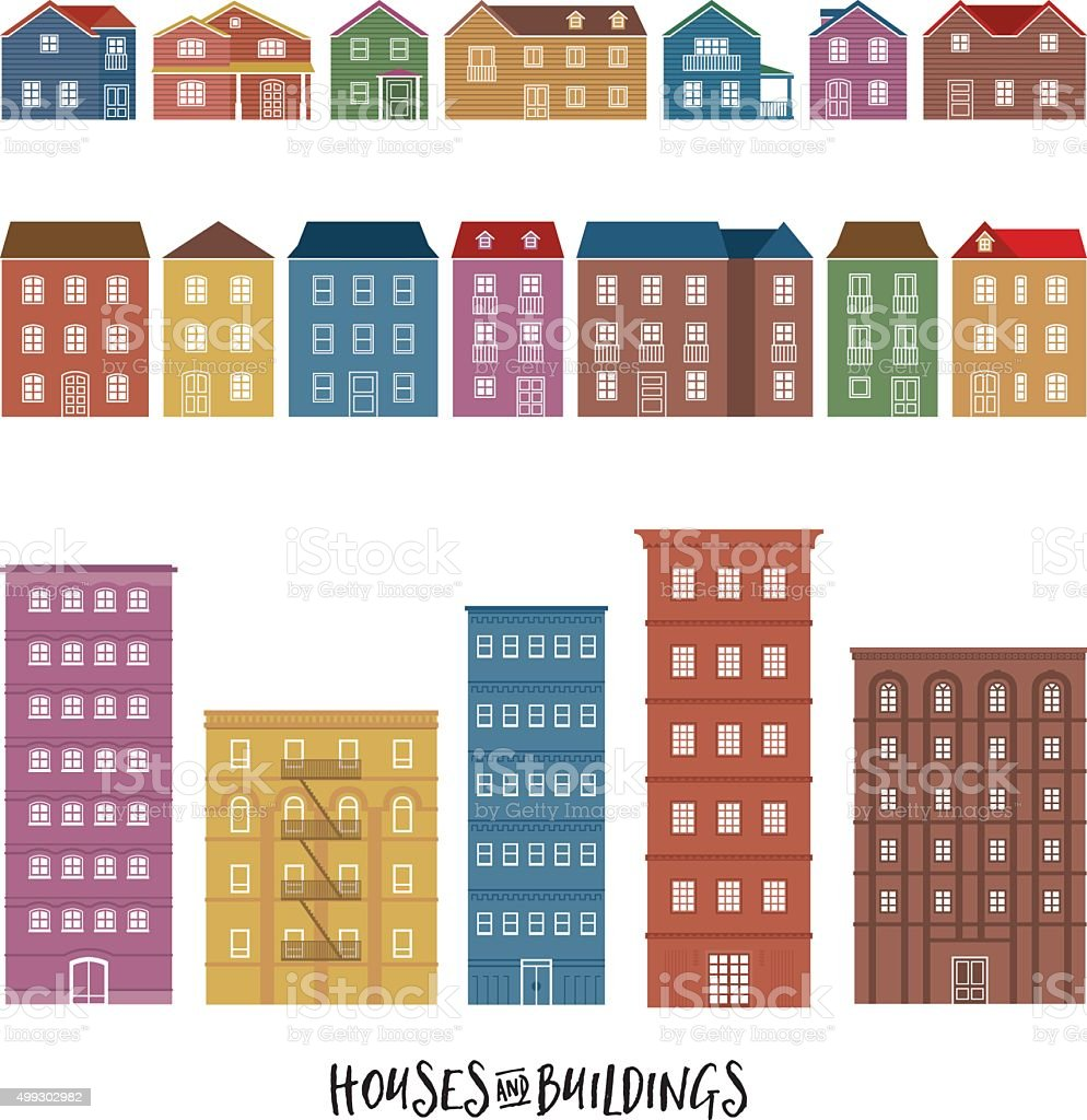 Houses and Buildings vector art illustration